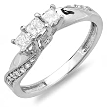 0.50 Carat (ctw) 18k Gold Princess and Round Diamond Ladies 3 Stone Swirl Engagement Bridal Ring 1/2 CT