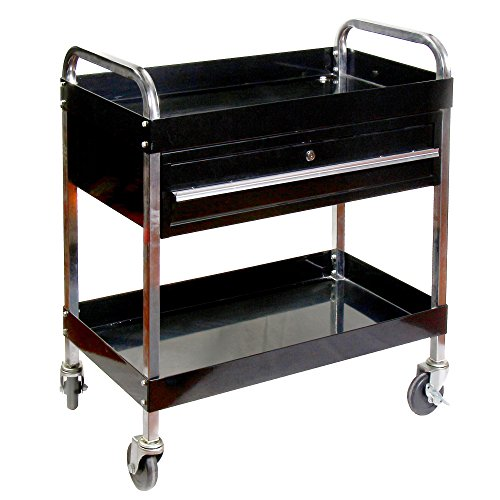 Steel Tool Cart - RTJ 350 lbs Capacity Service Cart with Lock Drawer Steel Tool Cart with Wheels
