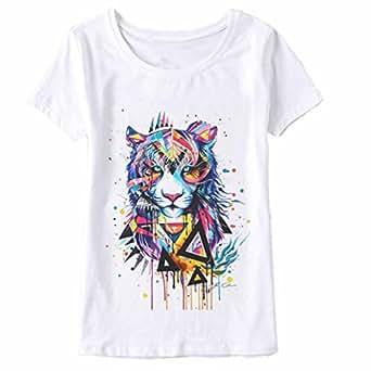 Lion T Shirt,ZYooh Women Girl Fashion Short Sleeve Lion Printed Round Neck shirt Blouse Top (S, white)
