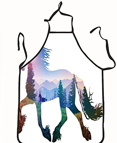 Inside Zone Running Game (chanrancase tailored apron silhouette of a running horse inside the moun Children, unisex kitchen apron, adjustable neck for barbecue 26.6x27.6+10.2(neck) INCH)