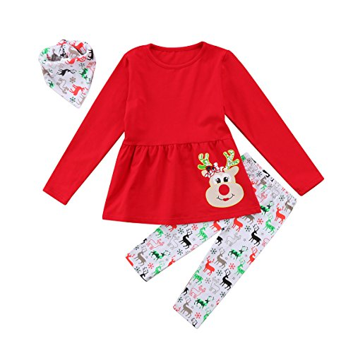 Christmas Toddler Girl Clothes Ruffles Irregular Mini Dress Tops+Long Pant Scarf 3PCS Clothing Set (Tag: 90/2-3 Years, Red) Christmas Outfits For Toddler Girls
