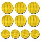 maiqiken 10PCS Honeycomb Reflector Tapes Outdoor Yellow 2.36″ In Diameter For Bicycle Night Fishing Roller Skating Hiking Camping Reflective Safety Tape Sports Traffic Warning Tape For Sale