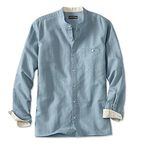 Orvis Men's Band-Collar Long-Sleeved Shirt, Light Blue, Large