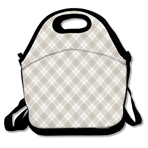 (NEWINESS Adults Kids Diagonal Plaid Pattern Geometric Simplistic Checked and Striped Tile Insulated Neoprene Lunch Bag Zipper Adjustable Strap Lunch Backpack for School Travel Work Outdoor Picnic )