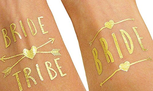 (12 pack) Bride and Bride Tribe Gold Temporary Tattoos For A Bachelorette (Things To Buy For A Bachelorette Party)