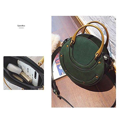 Vert REFURBISHHOUSE/Circular Scrub PU Leather Women Bags Retro Handbag Small Round Women Shoulder Mini Bag