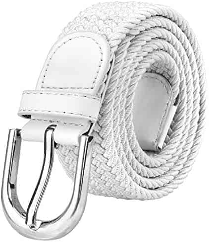 da91dad721856 Falari Men Women Canvas Elastic Fabric Woven Stretch Braided Belt - 21  Variety Colors