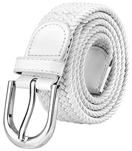 Falari Men Women Canvas Elastic Fabric Woven Stretch Braided Belt - White-Small ()