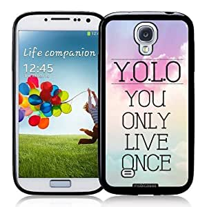 Cool Painting Hipster Quote - YOLO You Only Live Once Pastel Sky - Protective Designer BLACK Case - Fits Samsung Galaxy S4 i9500