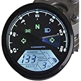 IZTOSS MPH/KMH 124MPH/199kmh 12000 rpm LCD Digital Speedometer Tachometer Odometer for 4 stroke 1/2/4 Cylinders Motorcycle