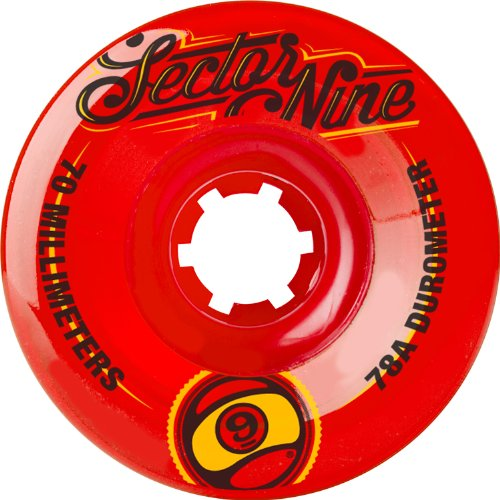 Sector 9 Top Shelf Nine Balls Skateboard Wheel, Red, 70mm 78A (Pack of 4)