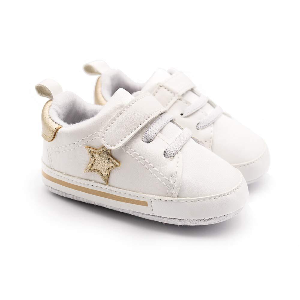 DLRWKUD Baby Boys Girls Soft Anti-Slip Sneakers Star Walking Toddler Shoes First Walkers