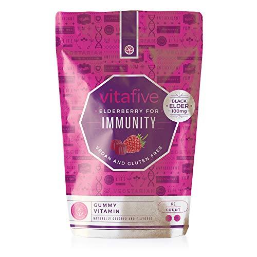 Vitafive Elderberry Gummies Immune Support Gummy Vitamins - Natural Berry Flavor, 100mg Black Elder Immunity, Vitamin C, Zinc, Vegan, Vegetarian, Gluten Free, Allergen Free, Kosher, Halal - 60 Count