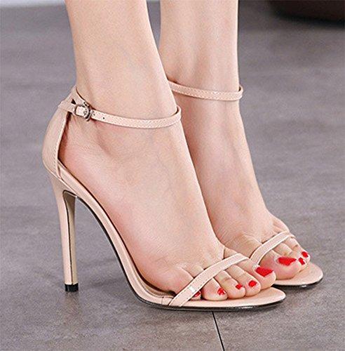 CHFSO Womens Classic Open Toe Low Platform Ankle Strap Stiletto Sandals Shoes Apricot Kq0iEqkL