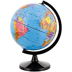 "TCP Global 6"" (14.2cm) Blue Ocean Desktop World Globe Black Base"