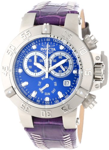Invicta Women's 11625 Subaqua Chronograph Blue Dial Purple Leather Watch