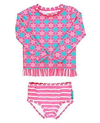 RuffleButts Little Girls Long Sleeve UPF 50+ Rash Guard Bikini Swimsuit Set