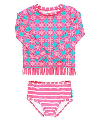 RuffleButts Infant/Toddler Girls Long Sleeve UPF 50+ Rash Guard Bikini Swimsuit Set