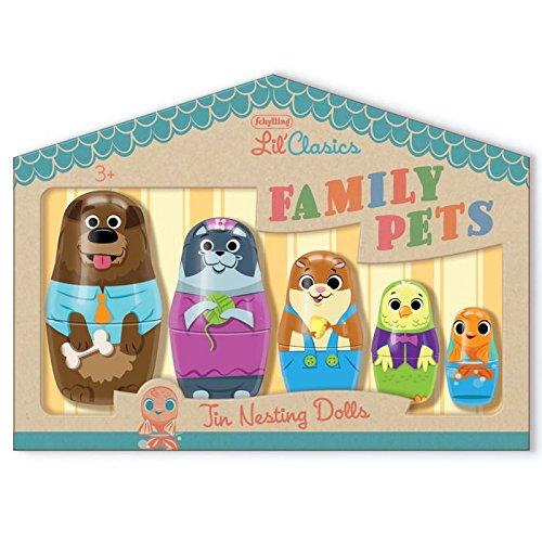 Schylling Little Classics Family Pets Tin Nesting Dolls
