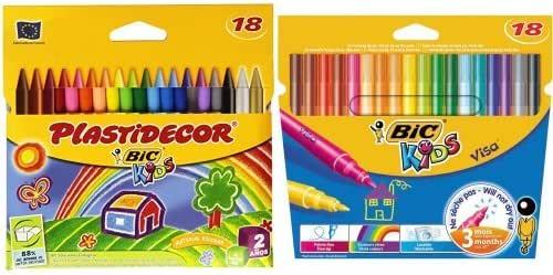 Bic Kids- Pack de juego de 18 rotuladores, punto fino, varios colores + 18 ceras de colores Plactidecor: Amazon.es: Oficina y papelería