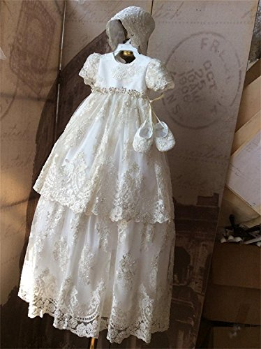 Banfvting Baby Girls Long Baptism Dress Lace Christening Gown With Bonnet by Banfvting (Image #3)