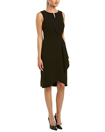 cf7f4aacda2f Tahari ASL Women's Side Drape Notch Neck Dress Black 2 at Amazon Women's  Clothing store:
