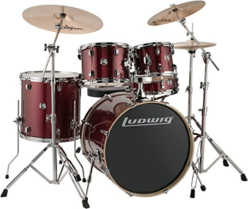 (Ludwig Drum Set, Red Sparkle (LCEE22025))