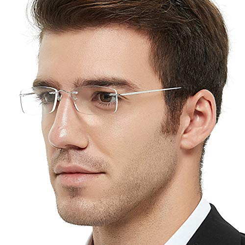 Titanium Reader Men Women Lightweight Rectangular Rimless Reading Glasses 100 150 200 250 300 350(2.5)