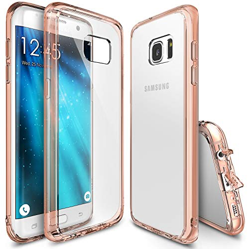 Ringke Fusion Compatible with Galaxy S7 Edge Case Brilliant Clear Minimal Hybrid Fortified PC Back TPU Bumper Impact Resistant, Shock Absorption for Galaxy S7 Edge - Rose Gold