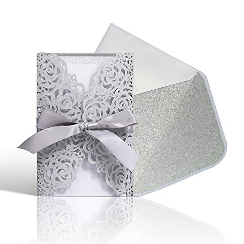 Laser Cut Wedding Invitations with Envelopes - 25pcs Silver Glitter Hollow Rose Invitation Cards with Silver Inner Sheet,Gray Ribbon,White+Silver Envelopes for Wedding Bridal Shower (4.7'' x 7')