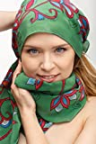 Hand dyed elegant silk scarf green with red floral ornaments. Painted shawl for women size 17x70 inches. Womens head, neck accessory. One of a kind gift for her