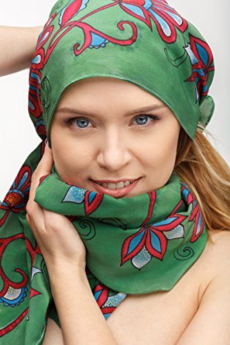 Hand dyed elegant silk scarf green with red floral ornaments. Painted shawl for women size 17x70 inches. Womens head, neck accessory. One of a kind gift for her by AstaSilkWorld