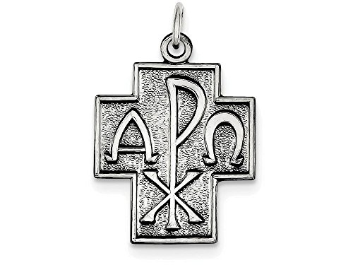 Finejewelers Sterling Silver Antiqued Alpha Omega Cross Pendant Necklace Chain Included ()