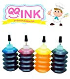 1 oz Premium Edible Ink Refill Bottle Kit for Canon Printer (BK / C / Y / M) by QQink