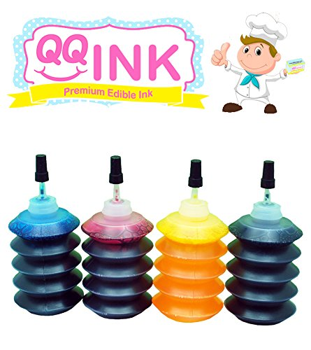 Price comparison product image Premium Edible Ink Refill Kit for Canon Printer - 1 oz Bottles (BK / C / Y / M) by QQink