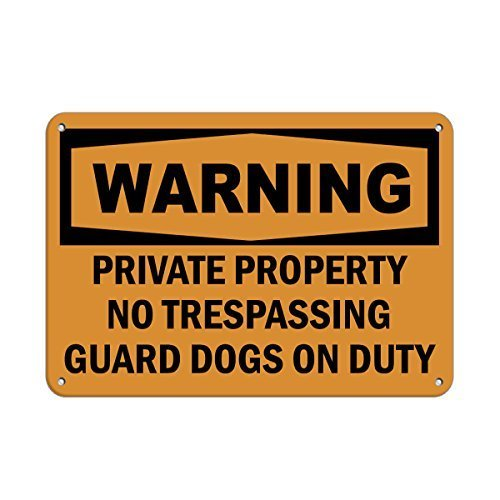 EvelynDavid Metal Warning Private Property No Trespassing Guard Dogs On Duty Aluminum Metal Sign Tin Sign 8 X 12 Inch. by EvelynDavid