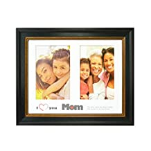 Golden State Art, I Love Mom Frame Collection, 8x10 Frame for (2) 4x6 Photos with White Mat, Table-Top Easel Stand, & Real Glass (Black with Gold & Burgundy)