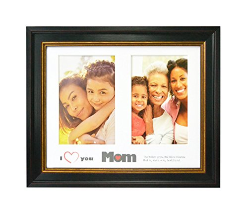 """- 8x10 Picture Frame - White mat Engraved with """"I Love Mom"""" Text for Two 4x6 Photos - Black with Gold & Burgundy - Gift for Mother - Wall and Table Easel Stand, Real Glass"""