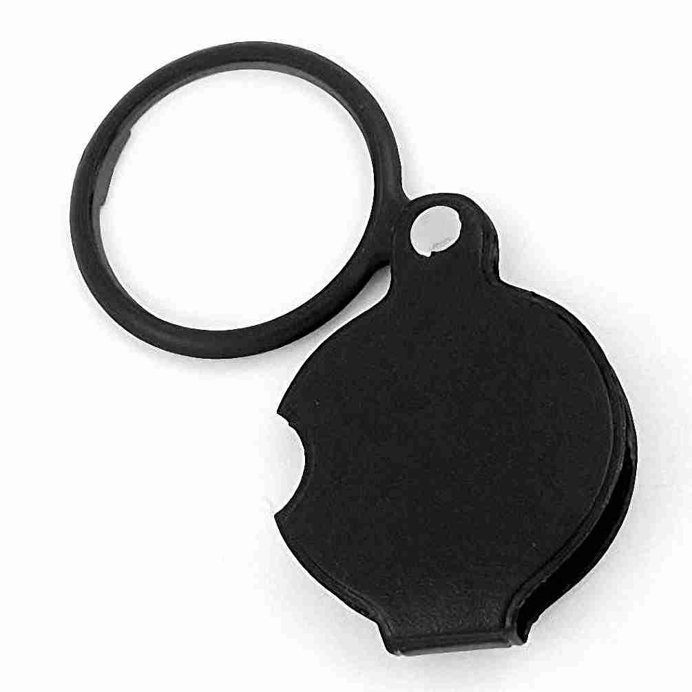 TOOGOO(R) 4X Round Shape Foldable Pocket Spiegel Magnifying Glass Black