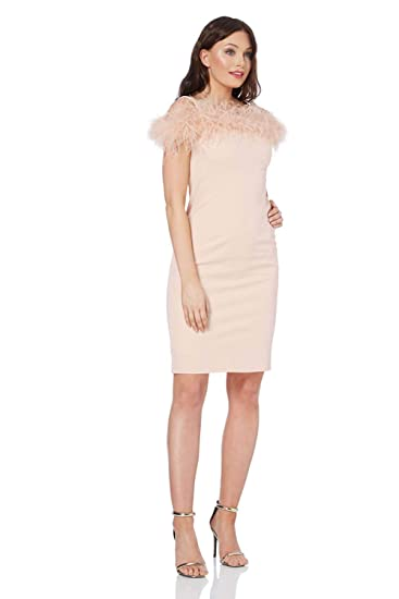 adfd3b376f393 Roman Originals Women Feather Trim Bardot Dress - Ladies Cold Shoulder Knee  Length Fully Lined Gatsby Vintage Evening Occasion Party Dresses - Light  Pink ...