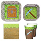 Mining Fun Standard Party Packs (65+ Pieces for 16 Guests!), Minecraft Inspired, Pixel Party Supplies, Birthday Parties