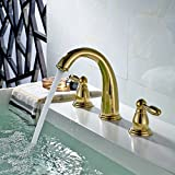 Fapully Bathroom Sink Faucet Contemporary Widespread 2 Handle 3 Hole Centerset Gold Lavatory Vanity Faucet PVD Gold