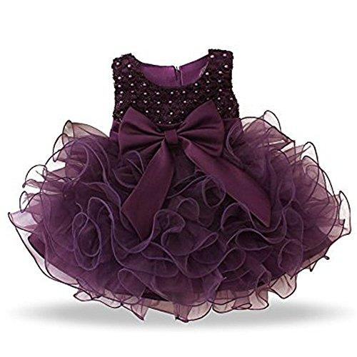 Cupcake Communion Dress (Lannorn 0-24 Month Baby Girls Flower Wedding Bowknot Communion Party Dress Multi Layer Tutu tulle)