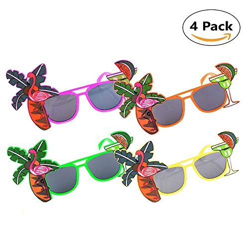 Tropical Hawaiian Flamingo Sunglasses 4 colors for Hawaii Luau Party Beach Gathering Beer Festival Photo Booth Props