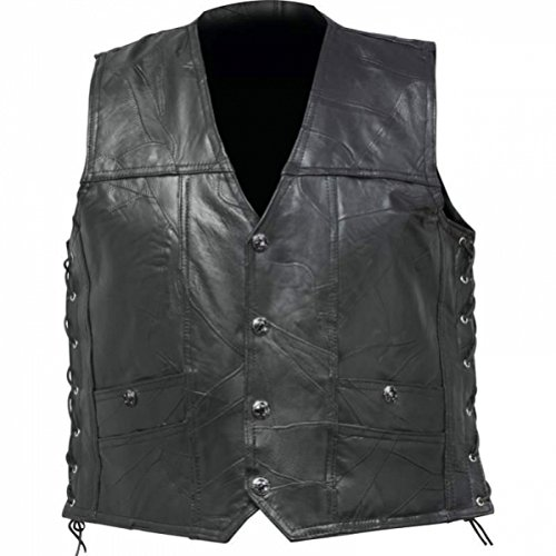 Genuine Buffalo Leather Concealed Carry Vest No Patches Diamond Plate Mens Vest