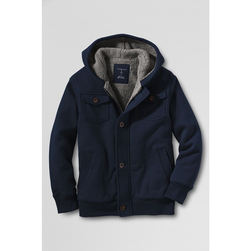 a44e60e71 Amazon.com: Lands' End Boys' Husky Sherpa Lined Hoodie, L, Classic Navy:  Athletic Warm Up And Track Jackets: Clothing