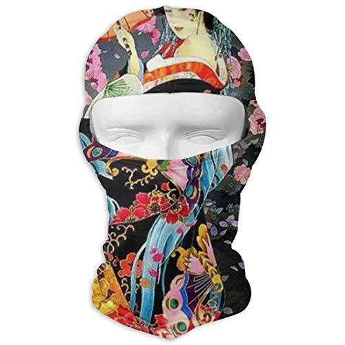 Retro Japanese Geisha Print Balaclava Ski Mask UV Sunscreen Headgear Windproof Cold Weather Face Mask Thermal Hood ()