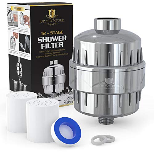 12-Stage Water Filtration Kit for Shower by Juicy Contour – Includes 2 Filters, Housing, and Installation Hardware – Removes Sediments, Chlorine, and Heavy Metals – Universal Fit by Juicy Contour