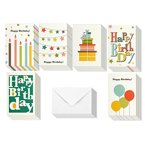 Colorful Happy Birthday Greeting Cards - 6 Bright Designs Includes Presents, Candles, Balloons, Star Buntings, Envelopes Included - 48 Pack - 4 x 6 Inches