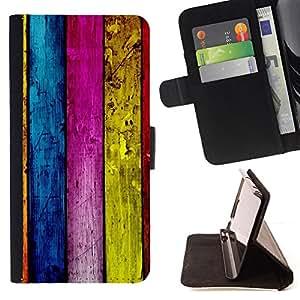 BullDog Case - FOR/Apple Iphone 6 PLUS 5.5 / - / wood wall architecture design colorful stripes /- Monedero de cuero de la PU Llevar cubierta de la caja con el ID Credit Card Slots Flip funda de cuer